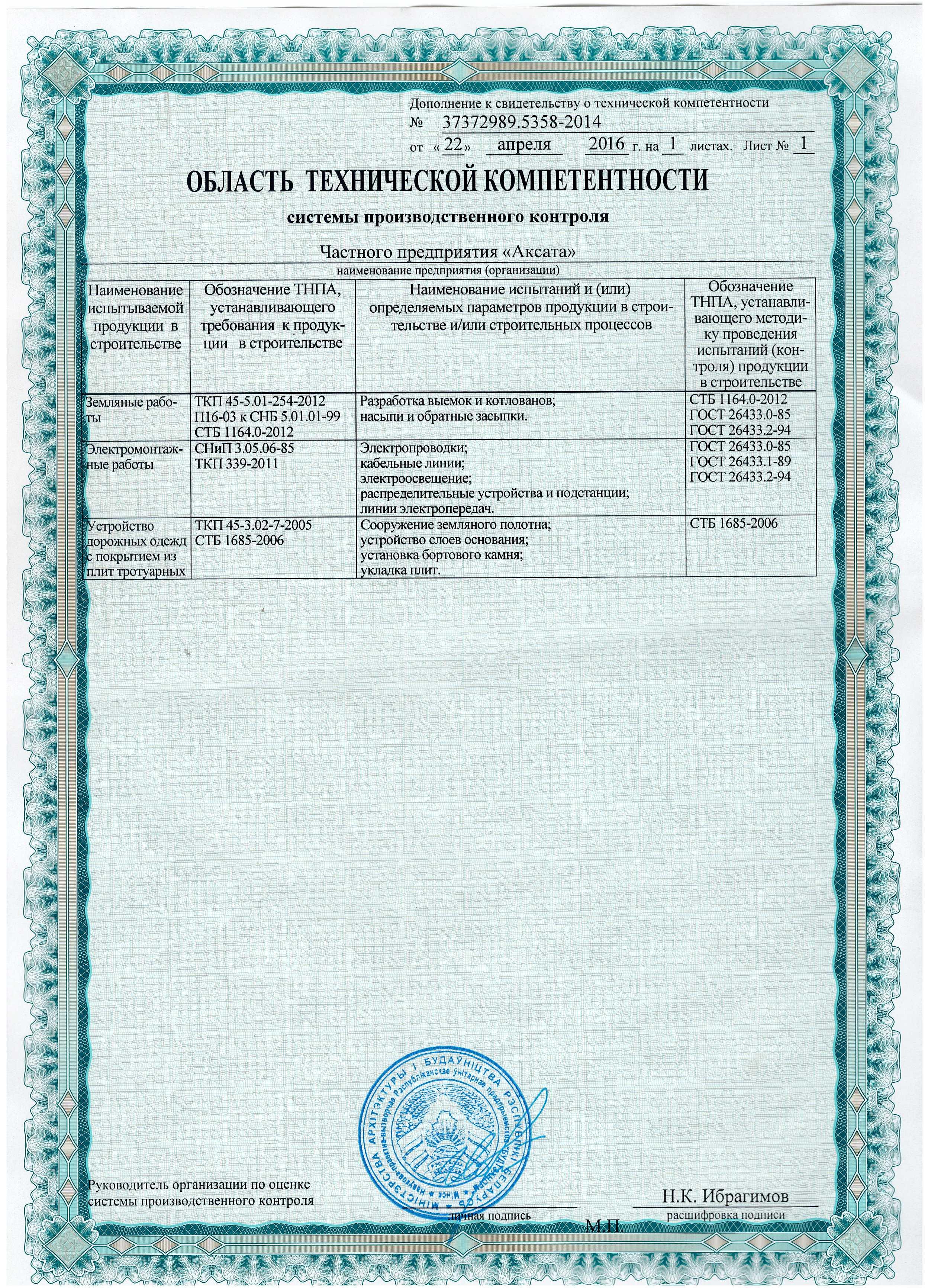 Свидетельство о технической компетентности, компания Аксата
